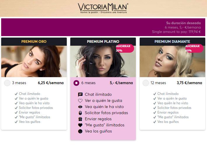 victoriamilan precios